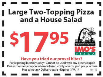 image relating to Imos Coupons Printable called Imos Pizza Discount codes, Promo Codes Bargains Sep-2019
