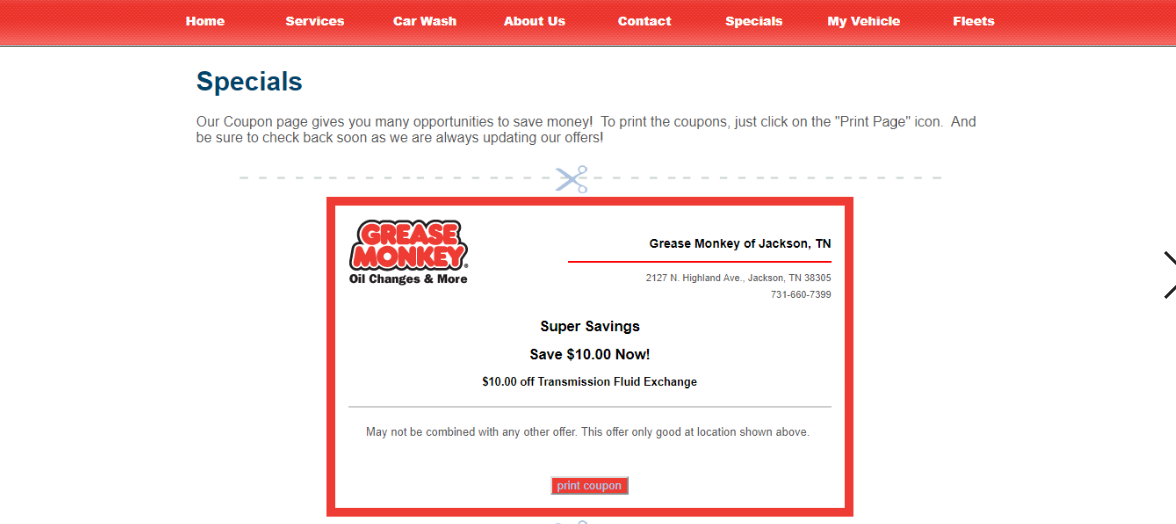Grease Monkey Printable Coupons